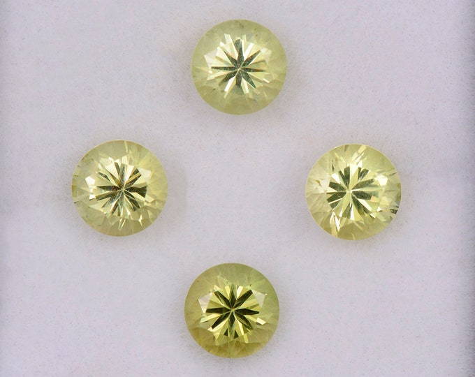 SALE! Brilliant Yellow Chrysoberyl Gemstone Set from Sri Lanka, 3.65 tcw., 5.5 mm., Round Brilliant Cuts