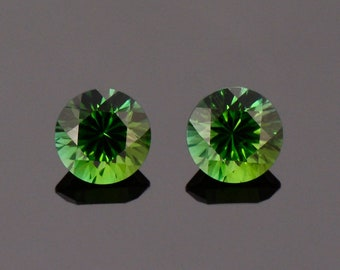 Excellent Deep Green Tourmaline Gemstone Match Pair, 2.78 tcw., 7.0 mm., Concave Round Cuts
