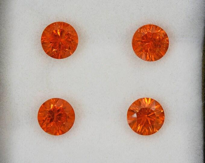Fiery Orange Concave Spessartine Garnet Gemstone Set from Nigeria 3.62 tcw.