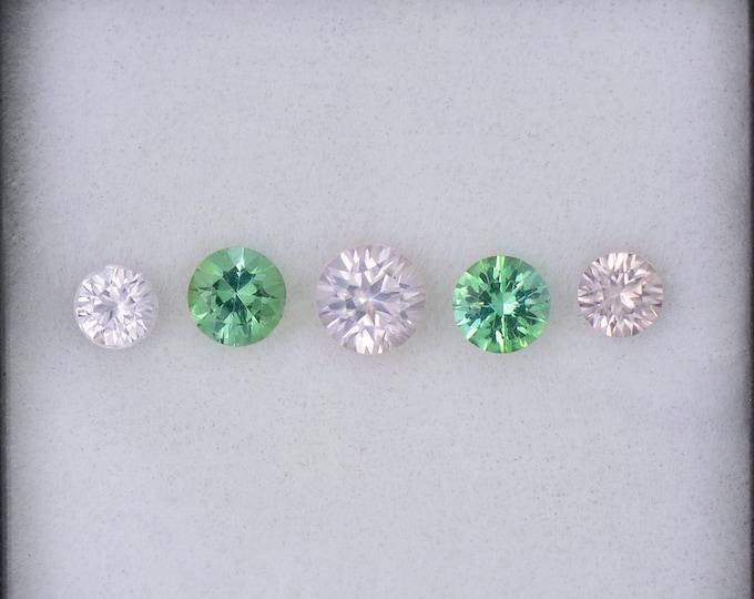 Elegant White Zircon and Blue Green Tourmaline Gemstone Set, 1.58 tcw., Round Shape.