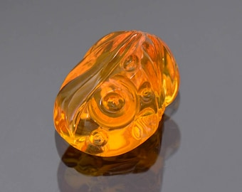 SALE! Stunning Bright Orange Fire Opal Carving from Mexico 6.41 cts.