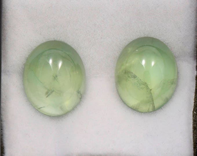 Beautiful Green Prehnite Match Pair Cabochons from Mali 9.88 tcw.