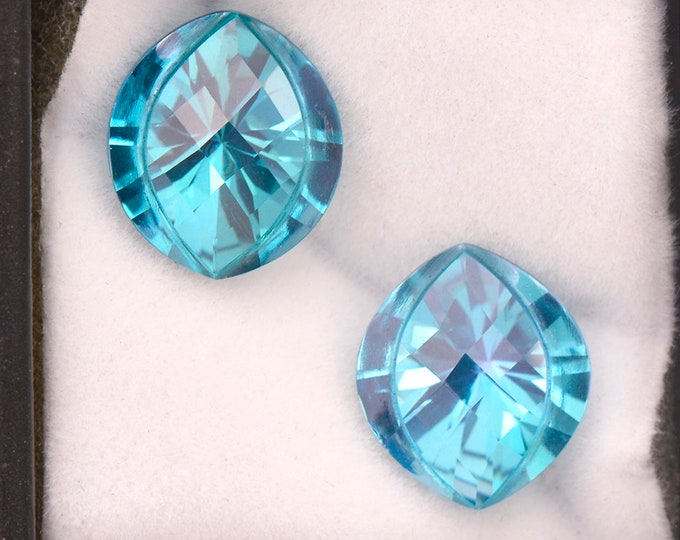 Electric Teal Blue Topaz Gemstone Match Pair, 10.80 cts., 12.5 x 11.0 mm., Checkboard Wide Marquise