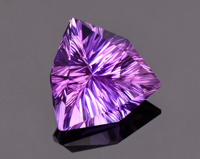 Exquisite Ametrine Gemstone from Bolivia, 11.26 cts. 16 mm. Concave Trillion Shape