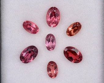 Beautiful Rose Pink Peach Spinel Gemstone Set from Tanzania, 2.89 tcw., 6x4 and 5x3 mm, Oval Shape