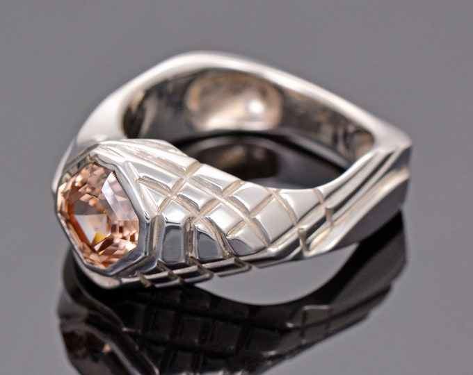 Awesome Custom Zircon Man's Ring in Continuum Silver, 2.41 cts, 7 mm., Asscher Cut, Ring Size 10.5