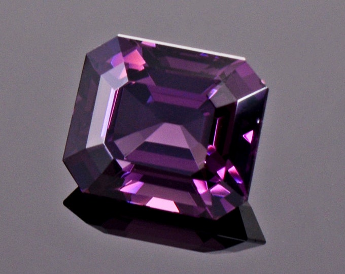 Excellent Deep Grape Purple Spinel Gemstone, 3.74 cts., 9.5x8.2 mm., Step Emerald Shape