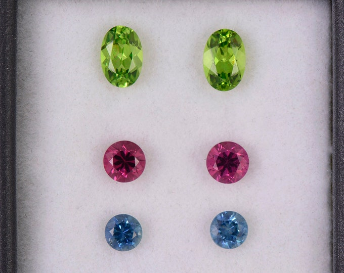 SALE! Fantastic Grossular Garnet, Spinel and Blue Sapphire Earring Gemstone Set, 2.40 tcw., Round and Oval Shape.