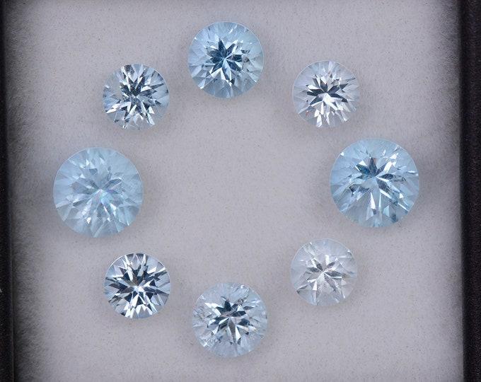 Brilliant Ice Blue Aquamarine Gemstone Set from Brazil., 4.10 tcw., 6 – 4.5 mm., Concave Round Cut