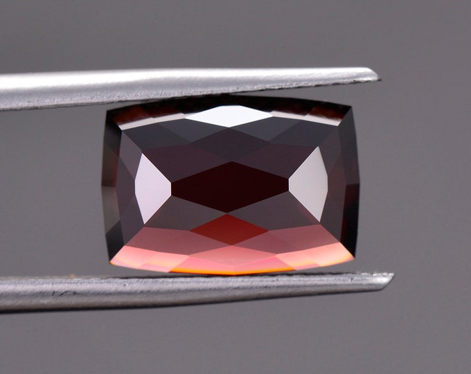 Fantastic Deep Red Zircon Gemstone from Tanzania, 6.86 cts., 11.8 x 8.3 mm., Rose Cut Cushion Shape.