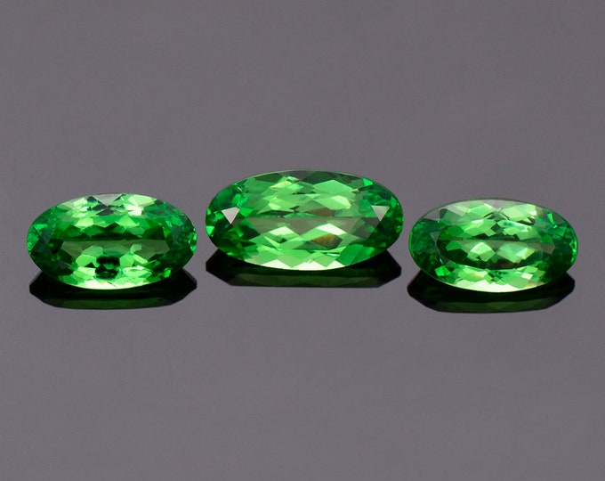 World Class Vivid Green Tsavorite Garnet Gemstone Match Set from Kenya, 10.48 tcw., Oval Star Cuts (Cert + Appraisal)