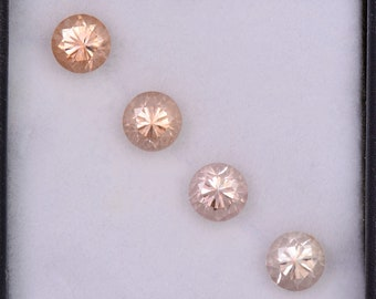 Radiant Peachy Champagne Zircon Gemstone Set from Tanzania, 3.08 tcw., 5 mm., Round Brilliant Cut