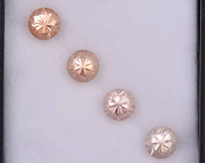 SALE! Radiant Peachy Champagne Zircon Gemstone Set from Tanzania, 3.08 tcw., 5 mm., Round Brilliant Cut