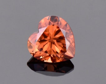 SALE! Brilliant Orange Zircon Gemstone from Tanzania, 2.48 cts., 7.5 mm., Heart Shape