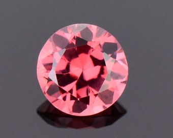 SALE! Gorgeous Peachy Pink Spinel Gemstone from Tanzania, 0.72 cts., 5.5 mm., Round Brilliant Cut