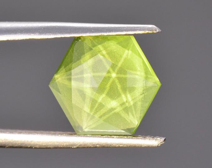 Fantastic Bright Green Peridot Gemstone, 2.64 cts., 8.85 mm., Hexagonal Rose Cut with Facet Phantoms!