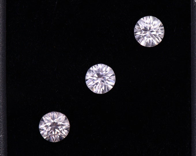 Brilliant Silver White Zircon Gemstone Set from Australia, 2.46 tcw., 5 mm., Concave Round Cut