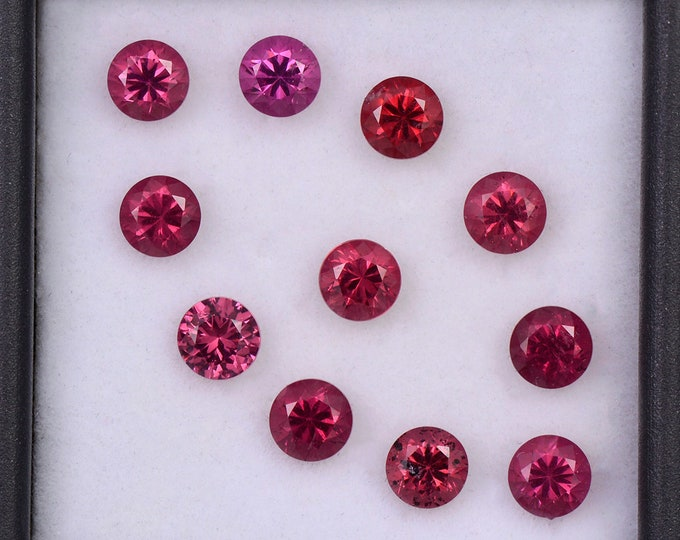 Gorgeous Cranberry Red Rhodolite Garnet Gemstone Set, 4.04 tcw., 4 mm., Round Brilliant Cut