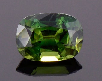 SALE! Beautiful Green Sapphire Gemstone from Australia, 1.12 cts., 7x5 mm., Cushion Shape