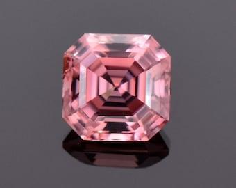 Fabulous Pink Champagne Zircon Gemstone from Tanzania, 2.67 cts., 7.1 mm., Asscher Cut