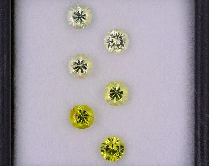 Fantastic yellow Chrysoberyl Gemstone Set from Sri Lanka, 2.02 tcw., 4.1 mm., Round Brilliant Cut., 6 Stones