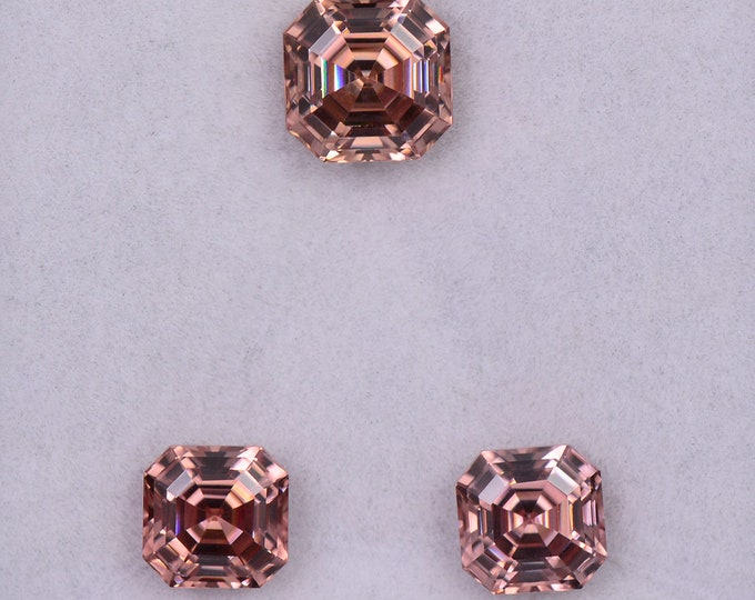Superb Peachy Pink Champagne Zircon Gemstone Set from Tanzania, 8.03 tcw., 7.6 mm and 6.5 mm., Asscher Cut!