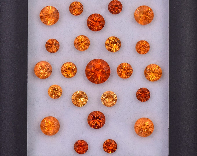 Fantastic Orange Spessartine Garnet Gemstone Set from Nigeria, 15.09 tcw., 7 mm to 4 mm, Concave Round Cut