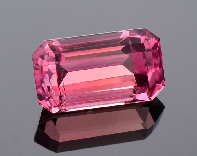 Fantastic Bright Rosy Pink Tourmaline Gemstone, 4.50 cts., 12.1x6.7 mm., Step Emerald Shape