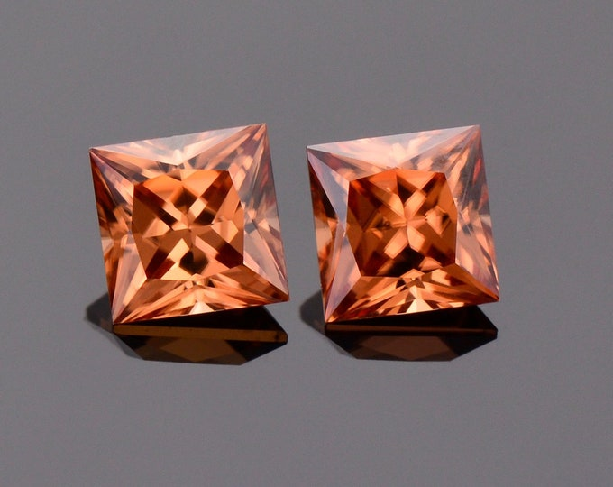 Excellent Orange Zircon Gemstone Match Pair from Tanzania, 2.17 tcw., 5 mm., Princess Cut