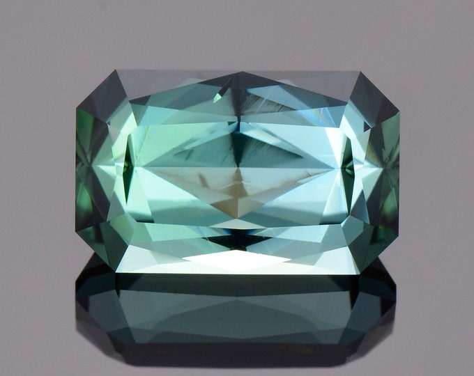 Gorgeous Evergreen Tourmaline Gemstone from The Congo, 5.53 cts., 12.3 x 7.8 mm., Custom Emerald Shape
