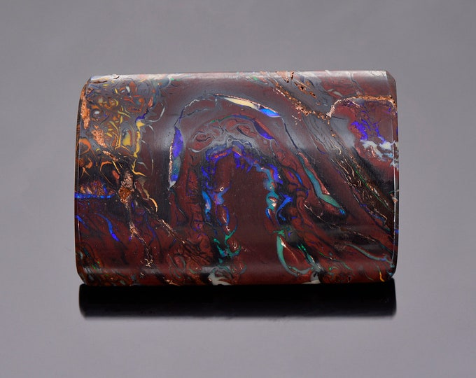 Intricate Blue Purple Boulder Opal from Australia, 55.42 cts., 36 x 24 mm., Rectangle Cabochon