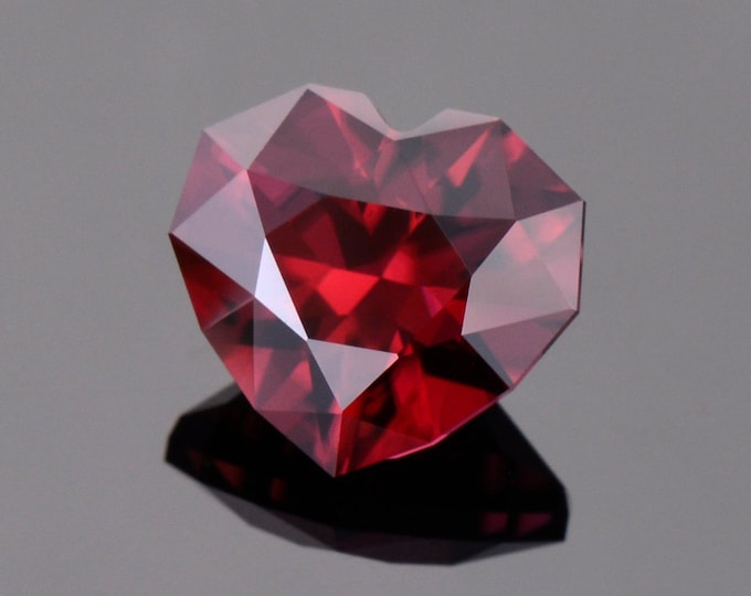 Superb Crimson Red Zircon Gemstone from Tanzania, 7.26 cts., 10 mm., Heart Shape