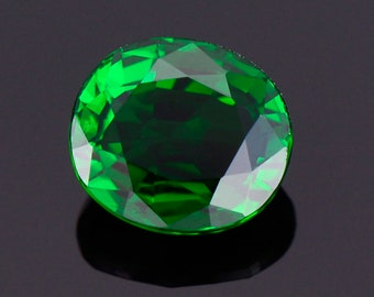 Lovely Deep Green Tsavorite Garnet Gemstone from Kenya, 0.69 cts., 5.5x4.8 mm., Oval Shape