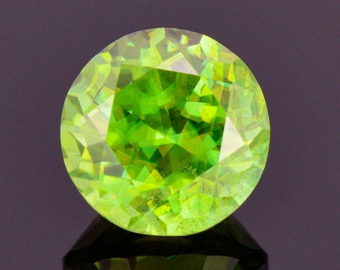 SALE! Fabulous Green Sphene / Titanite Gemstone from Madagascar, 4.74 cts., 9.7 mm., Round Shape