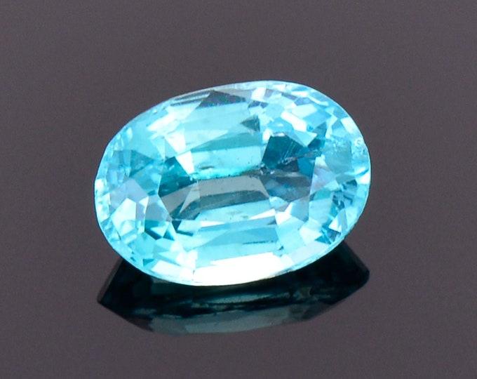 Stunning Caribbean Blue Apatite Gemstone from Madagascar, 1.14 cts. 7.7x5.4 mm., Oval Shape