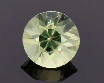 Excellent Pastel Green Sapphire Gemstone from Montana, 1.26 cts., 6.3 mm., Round Brilliant Cut