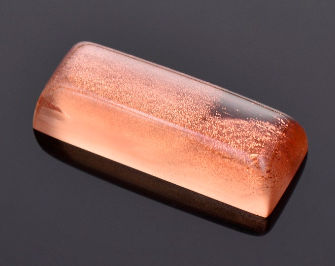 Exceptional Copper Shiller Sunstone Cabochon Gem, 10.58 cts., 21 x 8 mm., Elongated Sugar Loaf Shape