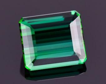 Fabulous Blue Green Tourmaline Gemstone from Brazil, 2.84 cts., 8.7x7.5 mm., Emerald Shape