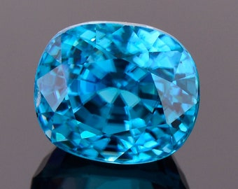 Exquisite Electric Blue Zircon Gemstone from Cambodia, 4.64 cts., 8.6x7.4 mm., Cushion Cut