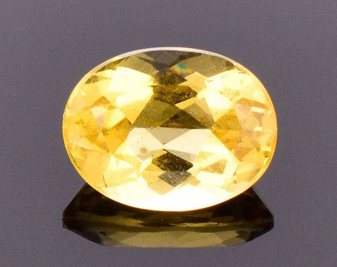SALE! Pretty Golden Yellow Heliodor Beryl Gemstone, 1.32 cts., 8x6 mm., Oval Shape