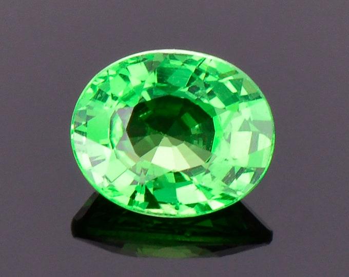 Excellent Bright Green Tsavorite Garnet Gemstone, 0.76 cts., 6.1x5.0 mm., Oval Shape