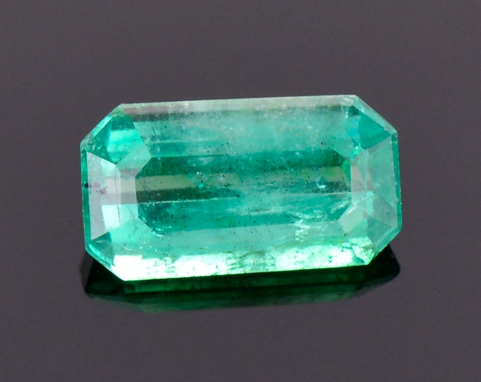 Stunning Green Blue Emerald Gemstone from Colombia, 0.85 cts., 8x4 mm., Emerald Shape Cut