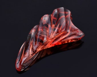 Fabulous Red Sunstone Carving from Oregon, 14.30 cts., 27 x 12 x 9 mm., Flowing Freeform Carving
