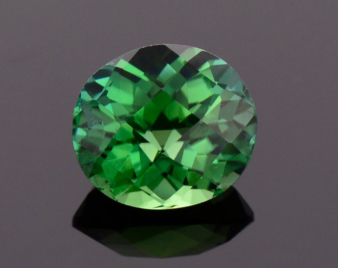 Featured listing image: Beautiful Green Tourmaline Gemstone from Brazil, 1.66 cts., 7.8x6.9 mm., Oval Shape