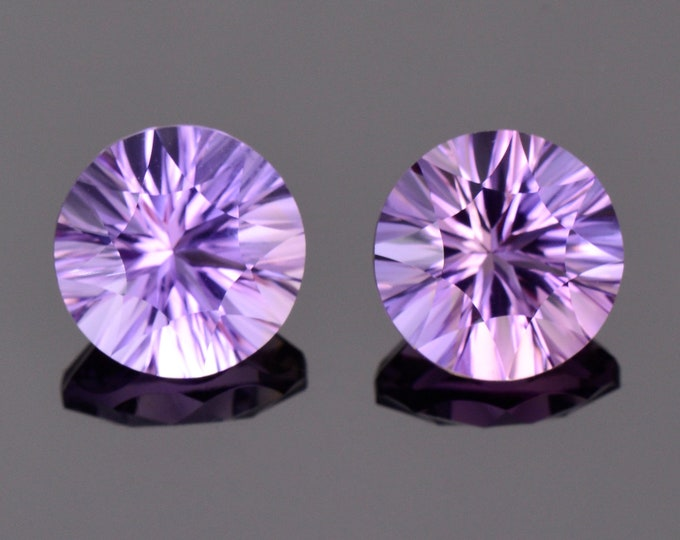 Beautiful Ametrine Gemstone Match Pair from Bolivia, 6.56 tcw., 10 mm., Concave Cut Rounds