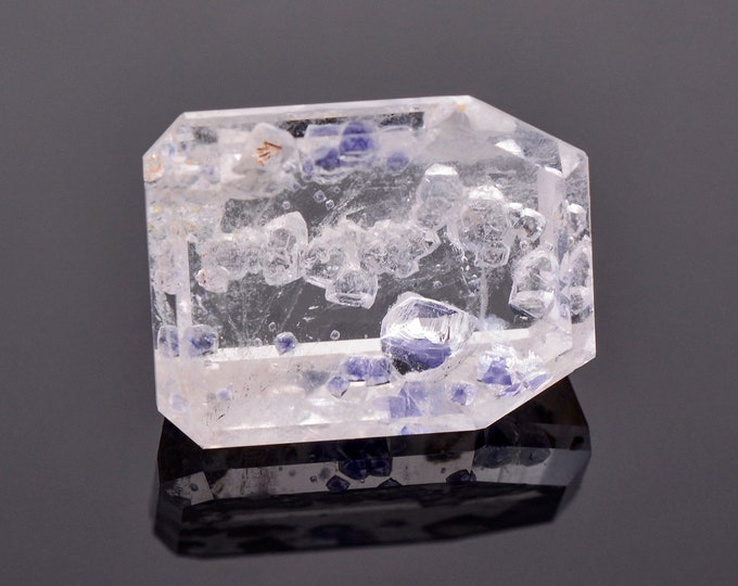 Unique Quartz Gemstone with Fluorite Crystal Inclusions from Madagascar, 16.87 cts., 17.9x13.7 mm., Headstone Shape