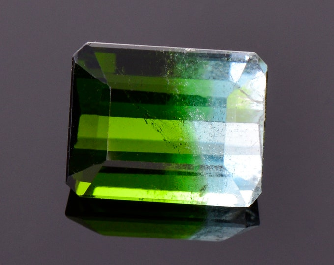 Gorgeous Bi Color Tourmaline Gemstone from Brazil, 3.04 cts., 9x7 mm., Step Emerald Cut