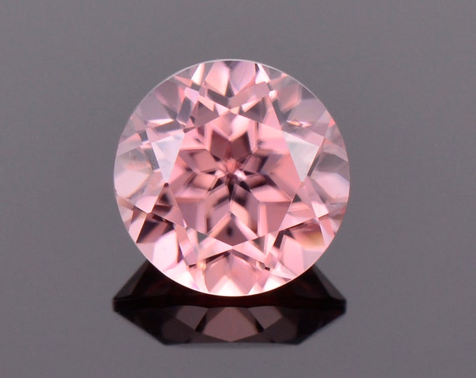 Pretty Pink Champagne Zircon Gemstone from Tanzania, 1.34 cts., 6 mm., Round Brilliant Cut