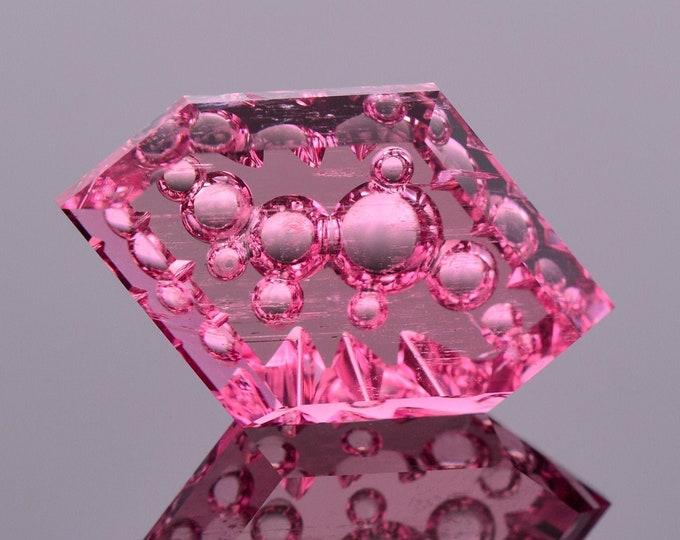 SALE! Fabulous Vivid Pink Fantasy Cut Tourmaline Gemstone from Nigeria, 7.36 cts., 17x10 mm., Diamond Bubble Hex Shape