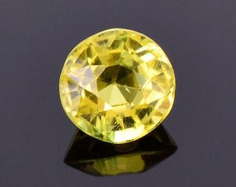 Bright Lemon Yellow Sapphire Gemstone from Sri Lanka, 1.35 cts., 6 mm., Round Shape